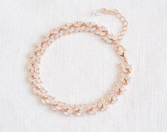 Wedding Bracelet, Rose Gold Bridal Bracelet, Leaf Cluster Tennis Bridal Bracelet, Bridal Wedding Jewelry, Marquise Crystal Bracelet, CELINE