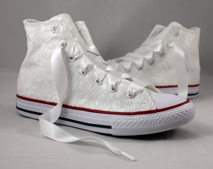 Featured listing image: Lace High Top Converses --Bridal Converses -- Wedding Tennis shoes  - Wedding Converse High Top-- Custom Converses