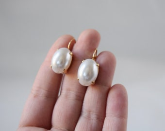 Pearl Dangle Earrings, 18th Century Pearl Earring, Regency Pearl Jewelry, 19th Century Earring, Big Pearl Dangle, Pearl Cabochon, Oval Pearl