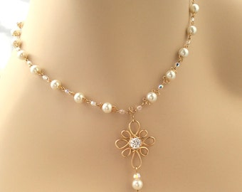14k Gold Filled Necklace, Handmade Chain with Glass Pearls, Swarovski Crystals, CZ