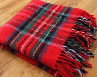 Vintage Red + Green + Blue Plaid Fringed Stadium Blanket