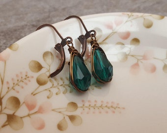 Teal Green Earrings - Teal Crystal Teardrop Earrings - Wire Wrapped Herringbone Bronze Leverback Earrings, jingsbeadingworld, Gift for her