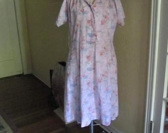 1950s Cotton Floral Dress Large / Vintage Pink Blue White Flower Dress