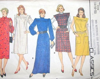 Vintage 1980s Sewing Pattern Butterick 6064 Loose Fit Caftan Dress, Evening Maxi Womens Miss Size 14 16 18 Bust 36 38 40 Uncut Factory Folds