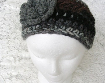 Gray Crochet Head Band -Grey Brown Black Ear Warmer - Hair Accessories - Winter Hat - Warm Headband - Bulky Crochet Ear Muff