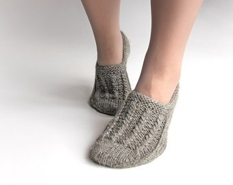 EU Size 38-39 - Hand Knitted Woolen Slippers - Winter Eco Clothing