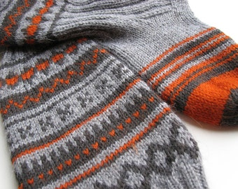 EU Size 37-38 - High Knee Hand Knitted Fair Isle Socks - 100% Natural Wool - Warm Autumn Winter Cozy Gift