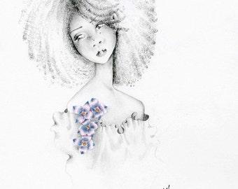Beautiful Girl Art Print Giclee Art Print of a Pretty Girl Sad Girl Afro Girl Art Multicultural Girl Black Girl Art Print Pretty Wall Art