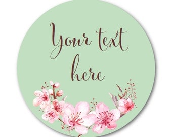 Custom Stickers, Wedding Labels, Product Labels, Plum Blossom - Made to Order