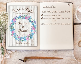 Save the Date Rustic Floral Printable Save the Date Wedding Invitation Forget-me-not Wreath Set Wedding Suite Country Wedding Printable
