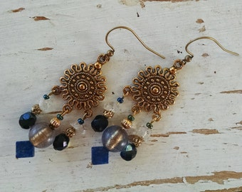 Bohemian gypsy hippie long Gold sun chandelier earrings with lapis rock crystal and blue glass