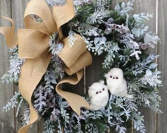 Christmas Wreath Winter Wreath Burlap Owl Wreath Snowy Greenery Snow Falling in the Forest Burlap Winter Wonderland No Red
