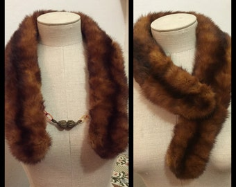 Beautiful Vintage Mink Collar Scarf With The Original Celluloid Chain And Crocheted Balls ~ Headless Mink Stole 1930's/40's