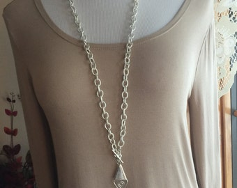 Long silver pendant necklace one of a kind toggle clasp