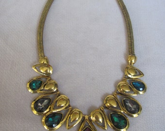 Antique Gold Jewel Tones Tear Drop Crystal Necklace