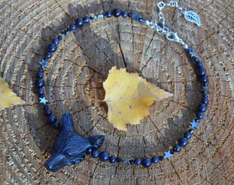 Blue Goldstone star wolf necklace, night sky galaxy necklace, midnight blue sandstone witch necklace, strega werewolf jewelry, dark elf