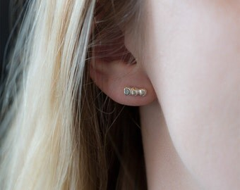 Tiny Silver Stud Earrings, Gift for Women, Sterling Silver Post Bar Earrings, Gift for Her, Minimalist Jewelry