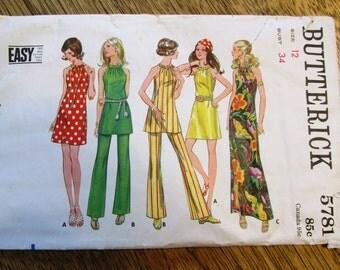 "SEXY 1960s Halter Mini Dress - BOHO Sleeveless Festival Dress & Flared Pants - Size 12 (Bust 34"") - VINTAGE Sewing Pattern Butterick 5781"