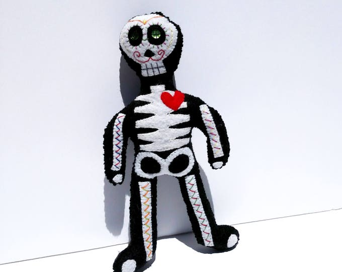 Day of The Dead Felt Skeleton Doll - Hand Sewn and One of a Kind