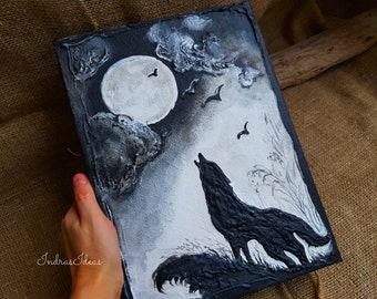 Large Wolf book, Wolf Howling at Moon, full moon book, pagan book, fantasy book, magic book, Spell book Magic diary, Gothic Black book