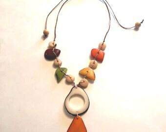 Tagua-Nut Necklace, Tagua Necklace, Boho Necklace, Macrame Jewelry, Boho, Bohemian