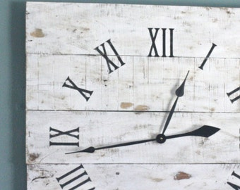 large nautical themed wall clock gray color wash by terrafirma79