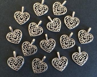 26 Antiqued Silver Heart Charms Silver Tone Hollow Heart Pendants 18mm x 15mm Bracelet Making Pendants