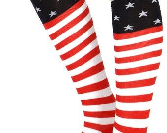 9.00 Americana Flag Long Socks, July 4th, Americana, Boho, Knit Flag Socks, Flag Leg warmers, Red white and Blue, Americana, Cute Socks