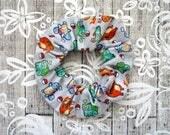 Pokemon Scrunchie - Gray Anime Scrunchy / Pokemon Video Game Pattern / Illustrated Fabric Elastic / Large Cotton Srunchie / Geek Girl Gift
