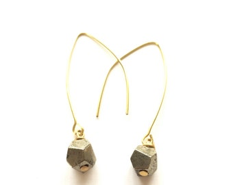 Faceted Pyrite Drop Earrings * silver, gold or copper * semi-precious mineral boho earrings