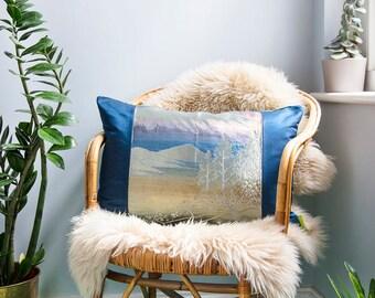 Blue Pillow, Vintage Silk Kimono Decorative Cushion, Silver Accent Pillow, Japanese Kimono Obi, Mountains Trees, Velvet ECO Upcycled Gift