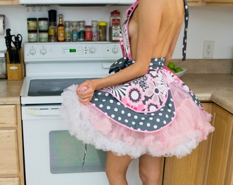 June Cleaver Flower Shower Women's Apron, Pink and Gray Floral, Retro Apron, Cosplay 50's Housewife