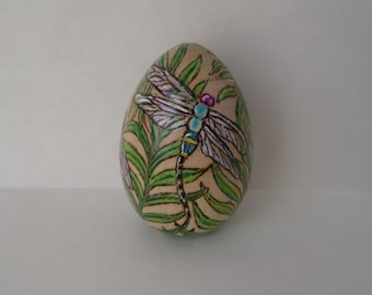dragonfly Easter egg, decorated easter egg, wood egg, pyrography, wood burning art
