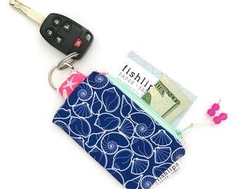 Navy Seashells Recycled Key-chain Coin Purse, Beach Lover Mini Zip Pouch, Shells Small Wallet, Beach Handmade Pouch, Gift for Beach Girl