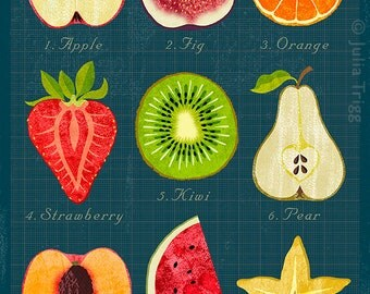 Fruit & Veg Halves x 2 prints – vibrant, colourful, healthy eating food charts, with a vintage feel