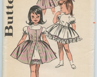 1960's Butterick 9748 Vintage Sewing Pattern Girl's Back Buttoned Full Skirted Dress & Jumper Breast 24 UNCUT