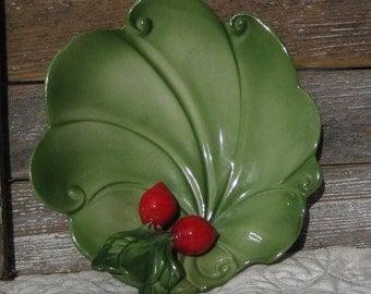 Brad Keeler Ceramic Radish Dish, Radish Dish, Green Ceramic Art Dish