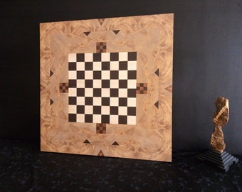 One of a kind handcrafted chessboard  in olive tree , acer, mahogany and wenge woods.