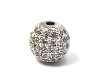 Clear Crystal Platinum Cubic Zirconia Beads, 10mm Round