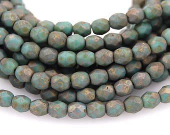 Persian Turquoise - Copper Picasso Czech Glass Firepolished 4mm Beads -50