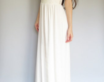 princess - ivory bamboo paired with 1960's floral lace maxi dress size small - bohemian chic hippie wedding strapless