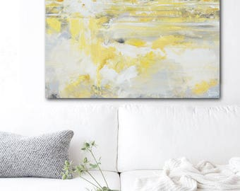ORIGINAL Art Abstract Painting Yellow Grey Large Wall Art Acrylic Painting Wall Decor Home Decor Modern Art Textured Coastal Gold Christine