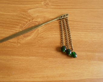Return to Oz II - green and brass hanging beaded hair stick