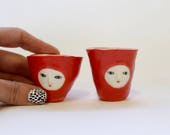 Red - Pair of wonky shot glasses