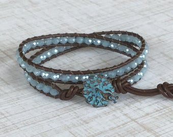 Double Leather Wrap Bracelet Baby Blue Brown Leather Wrap Peacock Free Shipping