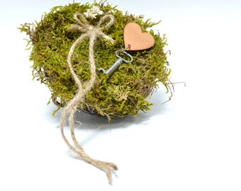 Ring Bearer Nest Lined with Moss