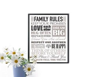 INSTANT DOWNLOAD Family rule Print, Printable family rules art, family rule poster, family rule sign, family printable art, birthday gift