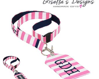 Hot Pink and navy Personalized Id Holder and lanyard, Student Id badge holder, Custom- Made college gifts, preppy gifts.