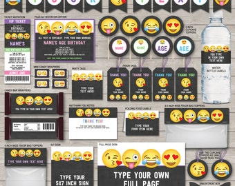Emoji Party Invitations & Decorations - full Printable Package - Emoji Theme Birthday Party - INSTANT DOWNLOAD with EDITABLE text
