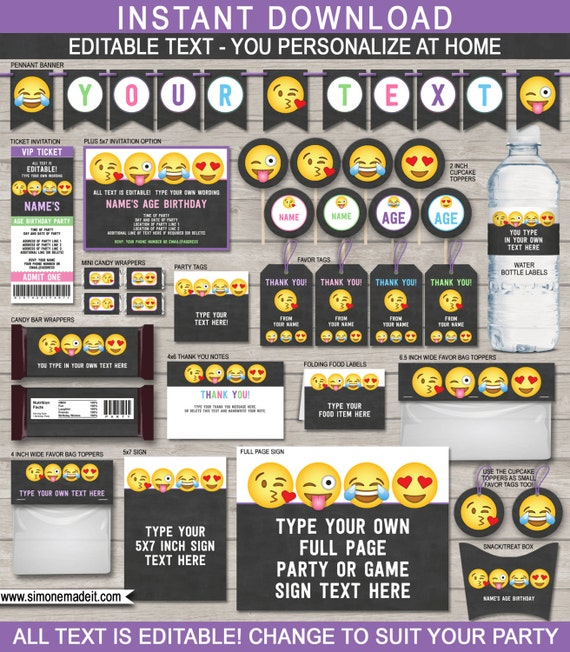 Emoji Birthday Party Pack Printables